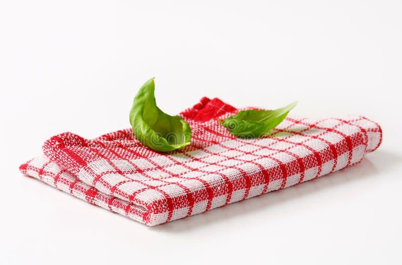 Rode en witte keukentheedoek royalty-vrije stock afbeeldingen