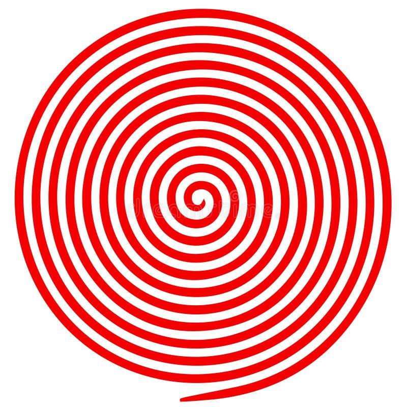 Rode en witte ronde abstracte draaikolk hypnotic spiraal stock illustratie