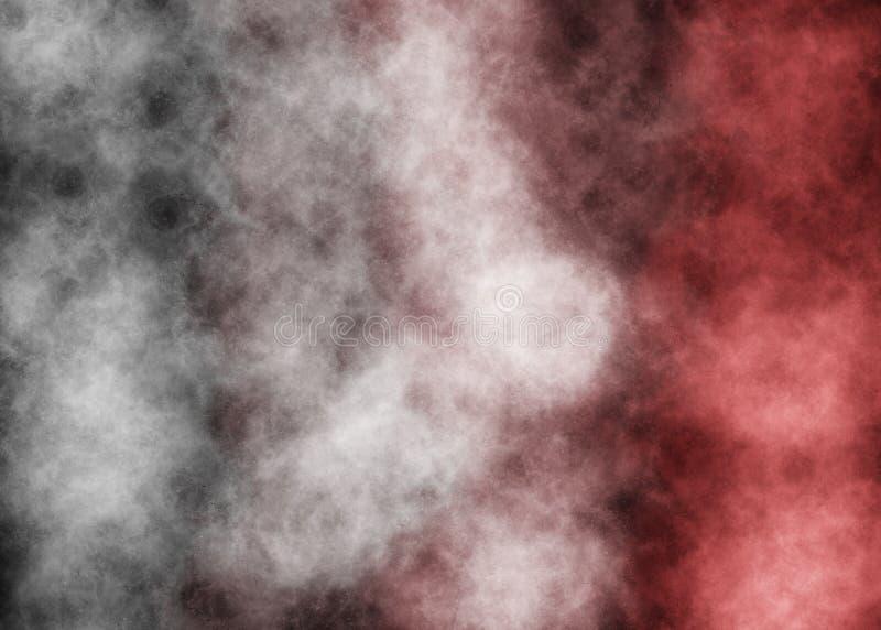 Rode en Witte rookstrepen op zwarte achtergrond stock fotografie