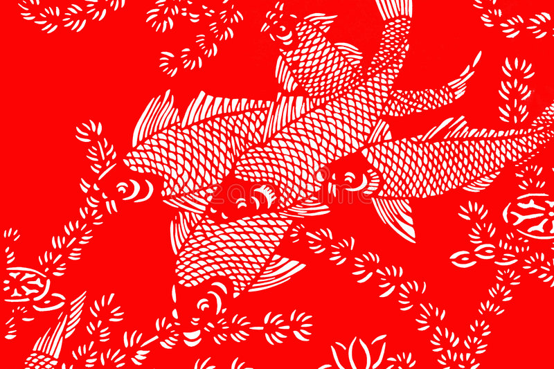 Rode en witte vissenachtergrond stock illustratie