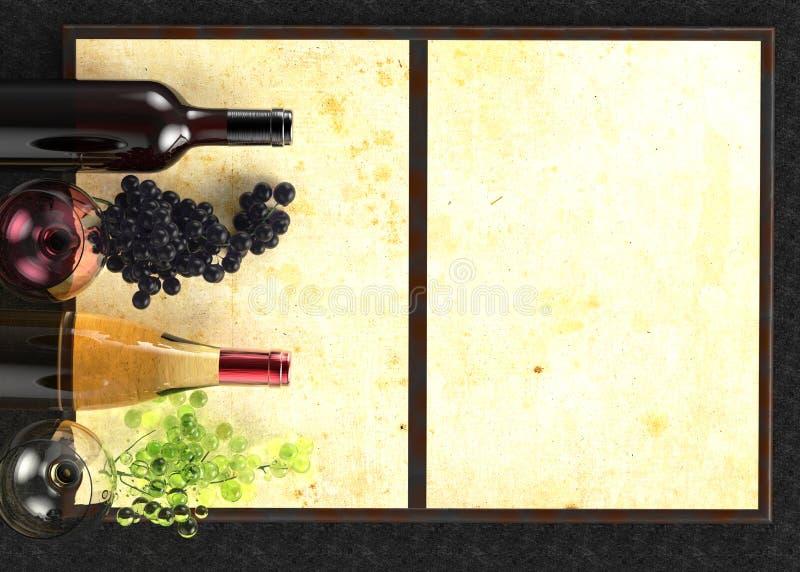 Rode en witte wijnglas en fles Druif en menu op zwarte achtergrond Mening van hierboven, hoogste mening 3D Illustratie stock foto's