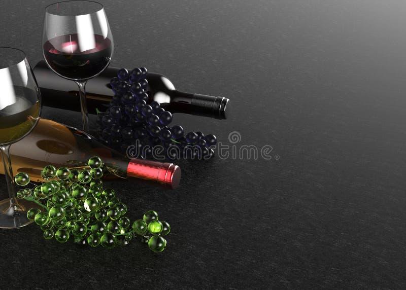Rode en witte wijnglazen en flessen Druif op zwarte achtergrond 3D Illustratie stock fotografie