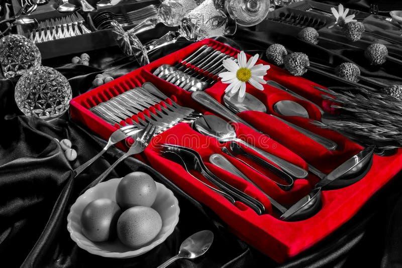 Rode en zwart-witte bloem stock foto