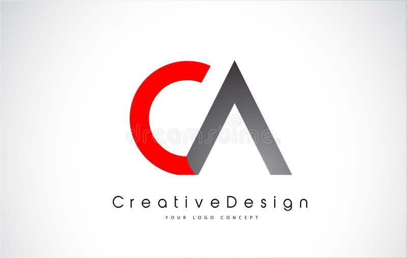 Rode en Zwarte CA-Brief Logo Design in Zwarte Kleuren Het creatieve Moderne Embleem van het Brieven Vectorpictogram stock illustratie