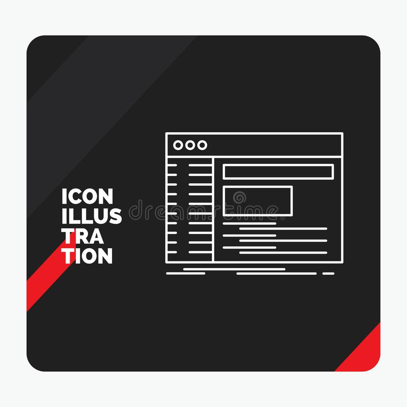 Rode en Zwarte Creatieve presentatieachtergrond voor Admin, console, paneel, wortel, het Pictogram van de softwarelijn vector illustratie