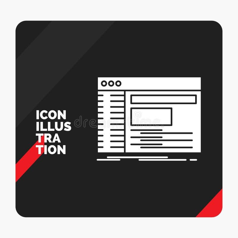 Rode en Zwarte Creatieve presentatieachtergrond voor Admin, console, paneel, wortel, het Pictogram van softwareglyph stock illustratie