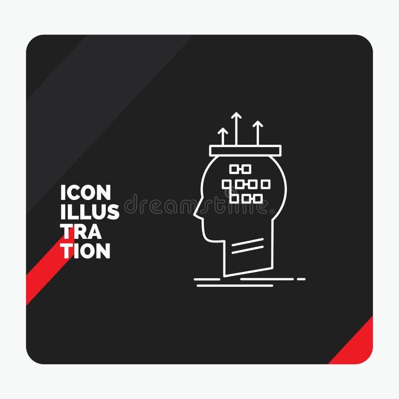 Rode en Zwarte Creatieve presentatieachtergrond voor Algoritme, hersenen, conclusie, proces, het denken Lijnpictogram stock illustratie