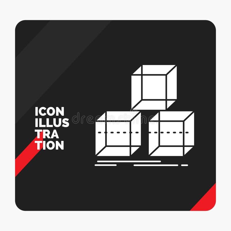 Rode en Zwarte Creatieve presentatieachtergrond voor Arrange, ontwerp, stapel, 3d, vakje het Pictogram van Glyph royalty-vrije illustratie