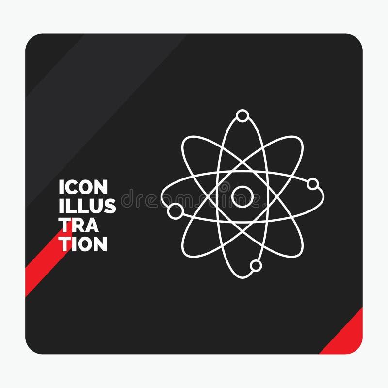 Rode en Zwarte Creatieve presentatieachtergrond voor atoom, kern, molecule, chemie, het Pictogram van de wetenschapslijn vector illustratie