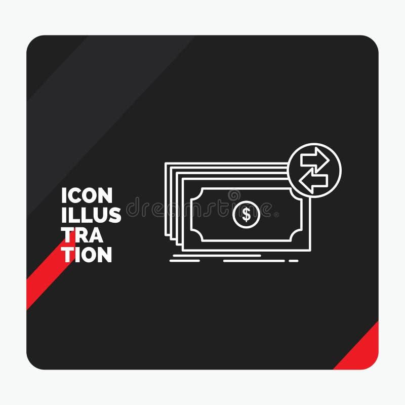 Rode en Zwarte Creatieve presentatieachtergrond voor Bankbiljetten, contant geld, dollars, stroom, het Pictogram van de geldlijn vector illustratie