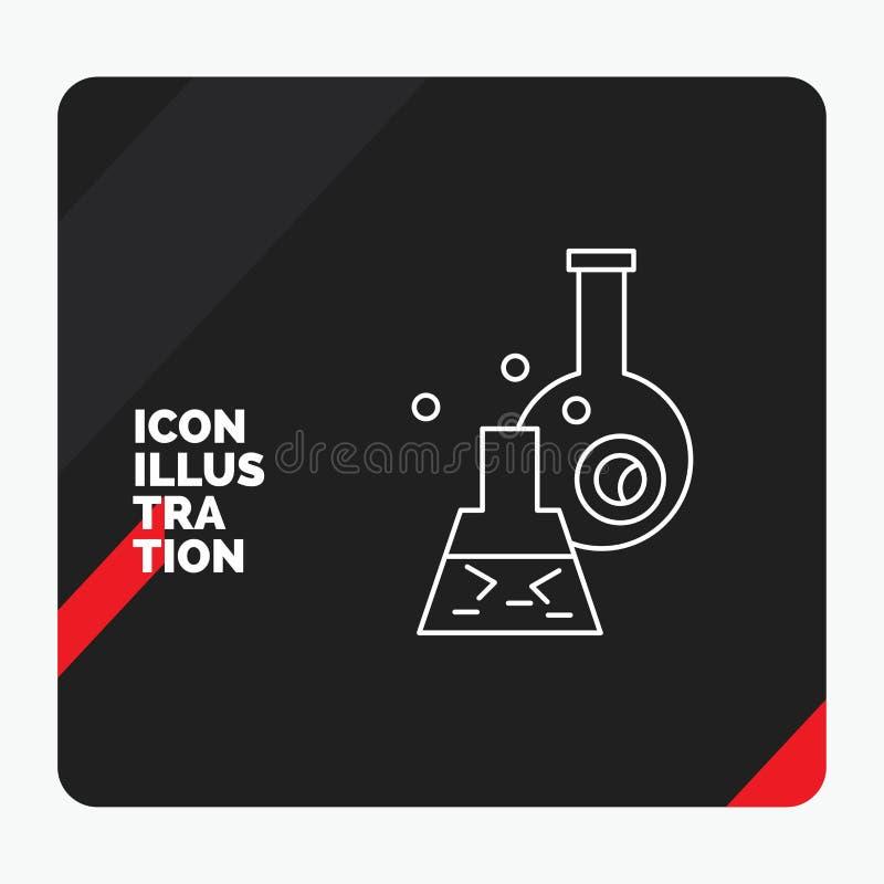 Rode en Zwarte Creatieve presentatieachtergrond voor beker, laboratorium, test, buis, wetenschappelijk Lijnpictogram royalty-vrije illustratie