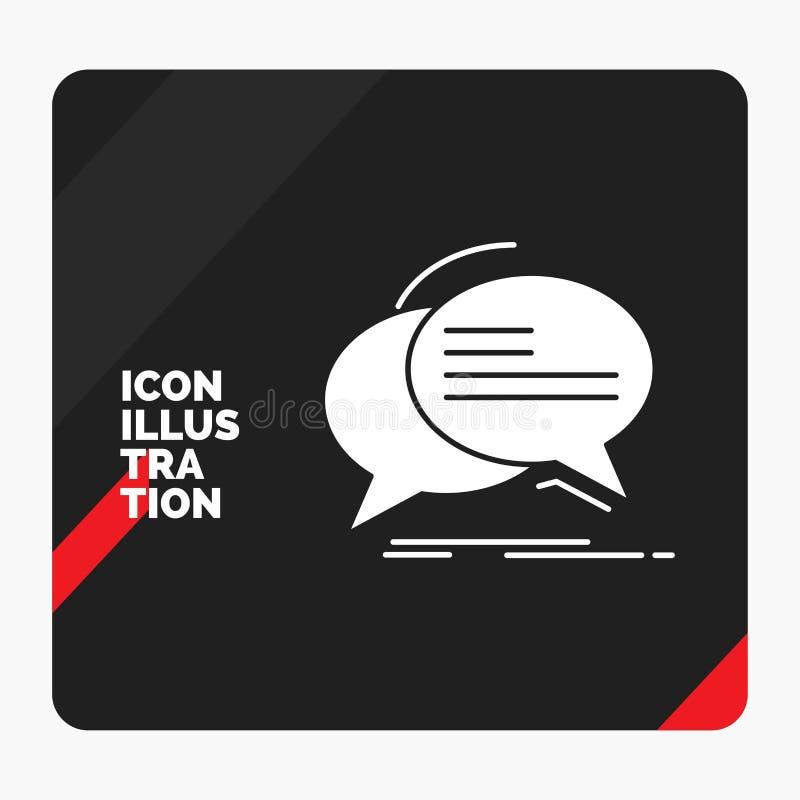 Rode en Zwarte Creatieve presentatieachtergrond voor Bel, praatje, mededeling, toespraak, het Pictogram van besprekingsglyph royalty-vrije illustratie