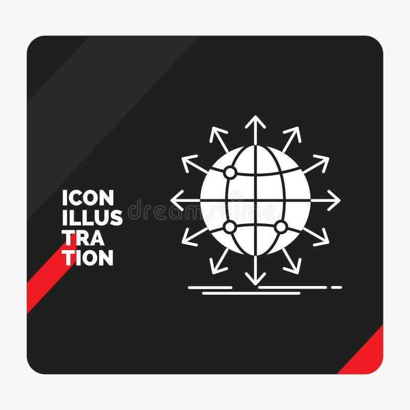 Rode en Zwarte Creatieve presentatieachtergrond voor bol, netwerk, pijl, nieuws, Glyph-Pictogram wereldwijd vector illustratie