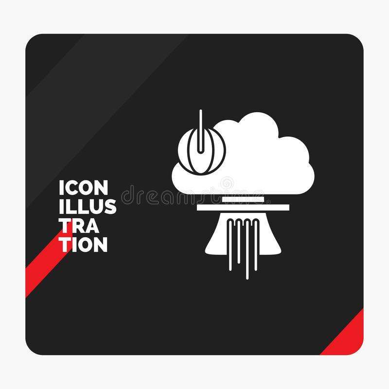 Rode en Zwarte Creatieve presentatieachtergrond voor Bom, explosie, kern, speciaal, het Pictogram van oorlogsglyph stock illustratie