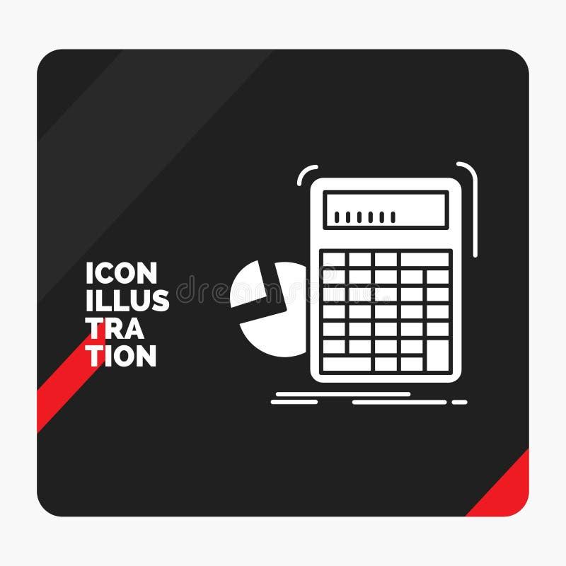 Rode en Zwarte Creatieve presentatieachtergrond voor calculator, berekening, wiskunde, vooruitgang, het Pictogram van grafiekglyp royalty-vrije illustratie