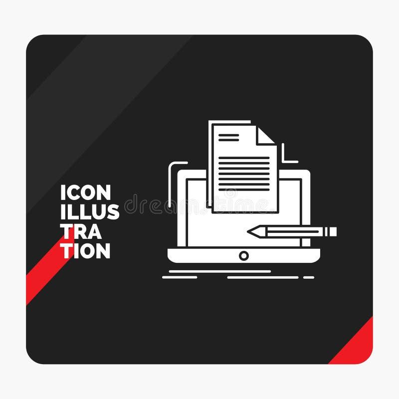 Rode en Zwarte Creatieve presentatieachtergrond voor Codeur, codage, computer, lijst, document het Pictogram van Glyph vector illustratie