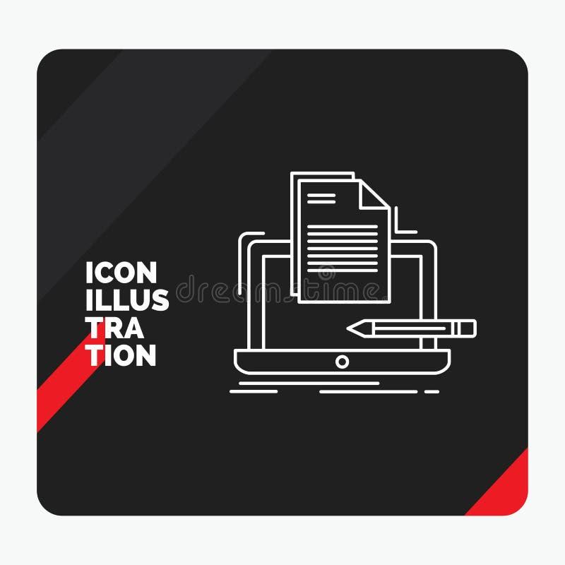 Rode en Zwarte Creatieve presentatieachtergrond voor Codeur, codage, computer, lijst, document Lijnpictogram vector illustratie