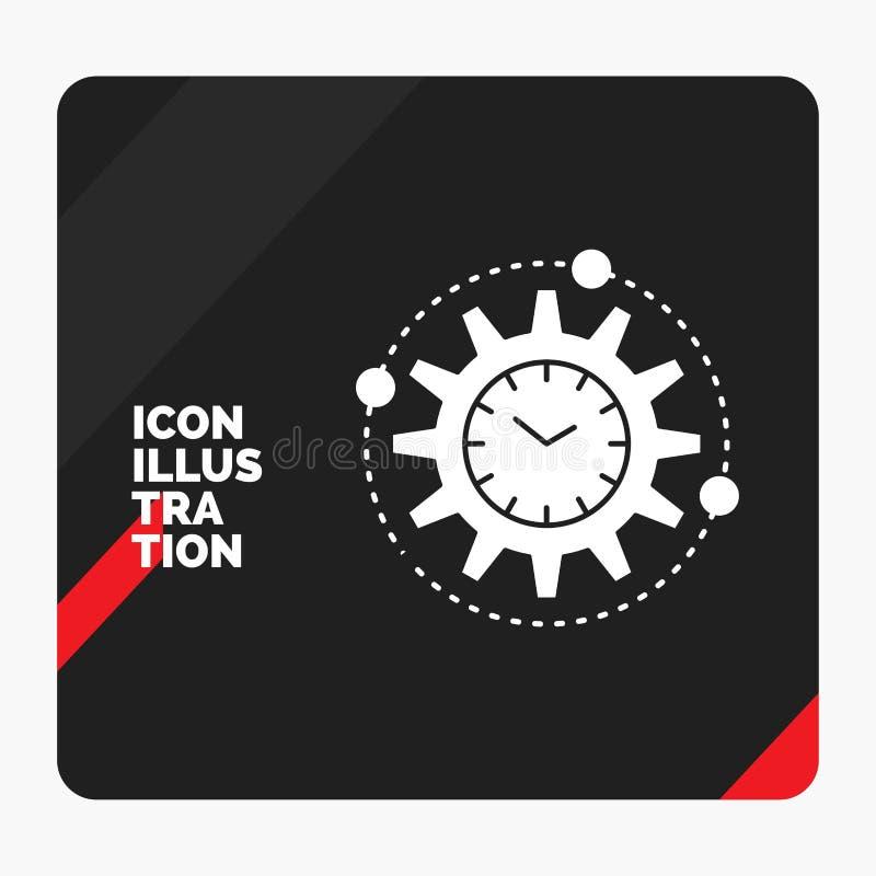 Rode en Zwarte Creatieve presentatieachtergrond voor Efficiency, beheer, verwerking, productiviteit, het Pictogram van projectgly royalty-vrije illustratie