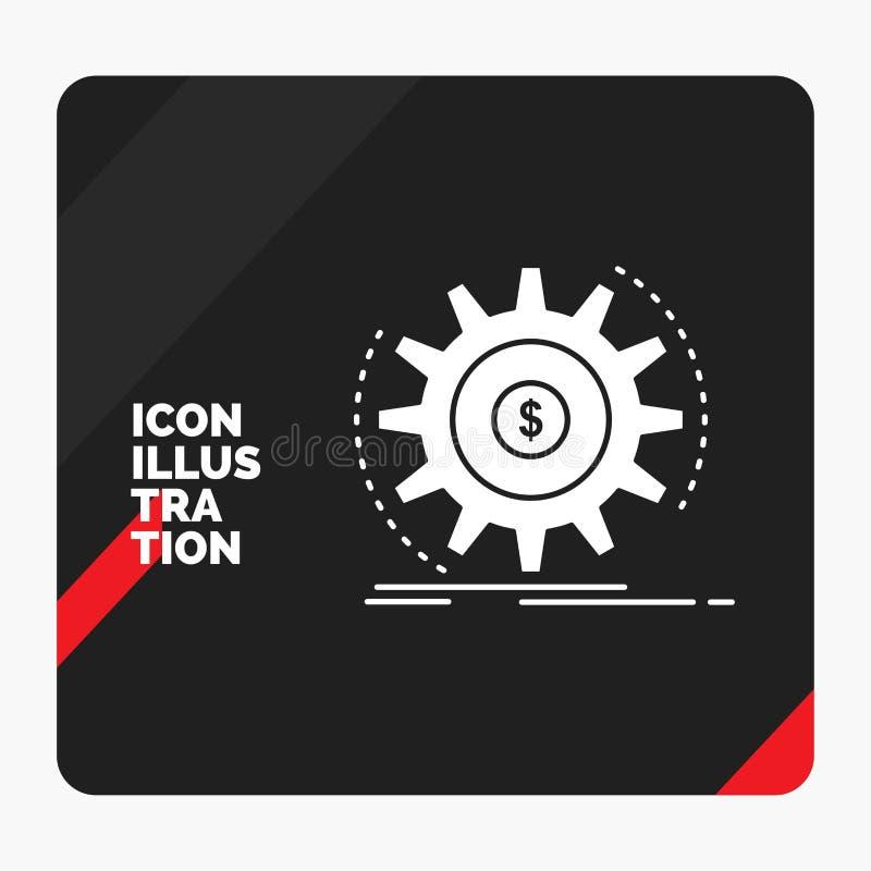 Rode en Zwarte Creatieve presentatieachtergrond voor Financiën, stroom, inkomen, het maken, het Pictogram van geldglyph royalty-vrije illustratie