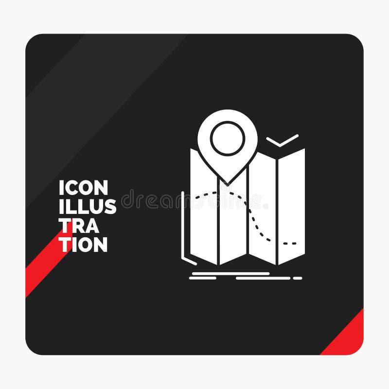 Rode en Zwarte Creatieve presentatieachtergrond voor gps, plaats, kaart, navigatie, het Pictogram van routeglyph stock illustratie