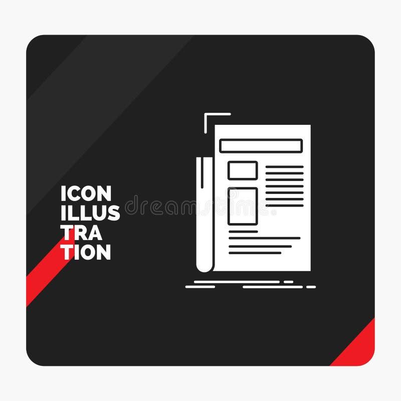 Rode en Zwarte Creatieve presentatieachtergrond voor Krant, media, nieuws, bulletin, het Pictogram van krantenglyph royalty-vrije illustratie