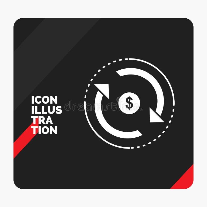 Rode en Zwarte Creatieve presentatieachtergrond voor Omloop, financiën, stroom, markt, het Pictogram van geldglyph stock illustratie