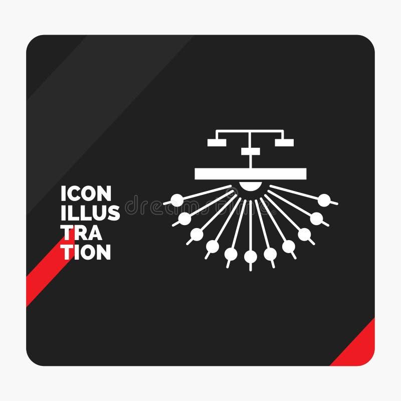 Rode en Zwarte Creatieve presentatieachtergrond voor optimalisering, plaats, plaats, structuur, het Pictogram van Webglyph stock illustratie