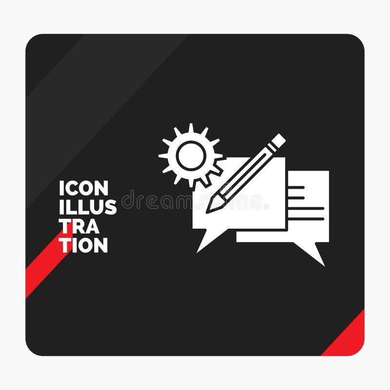 Rode en Zwarte Creatieve presentatieachtergrond voor praatje, mededeling, bespreking, het plaatsen, het Pictogram van berichtglyp vector illustratie