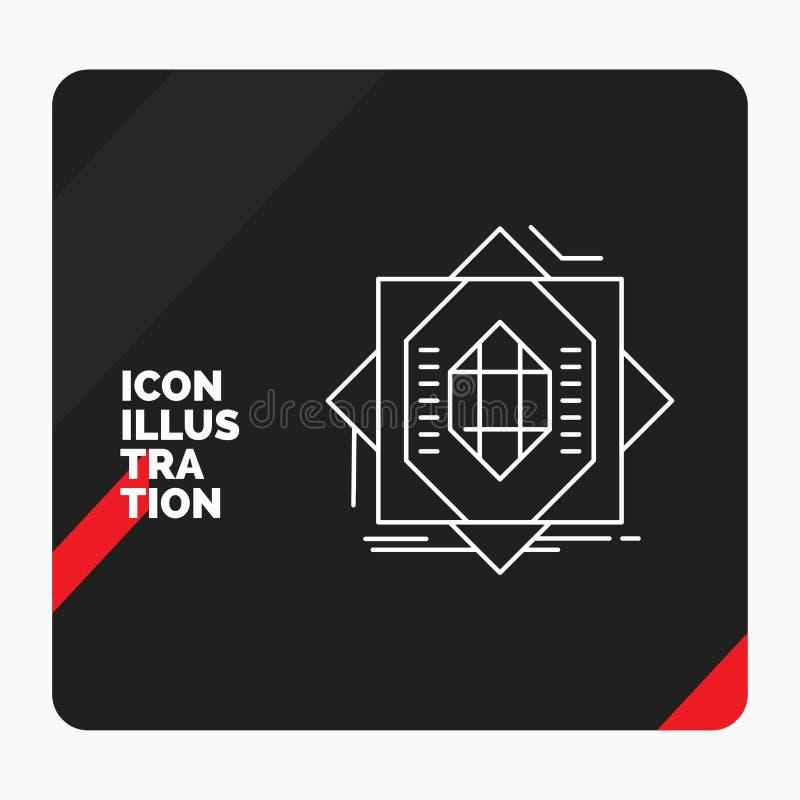Rode en Zwarte Creatieve presentatieachtergrond voor Samenvatting, kern die, vervaardiging, vorming, Lijnpictogram vormen stock illustratie