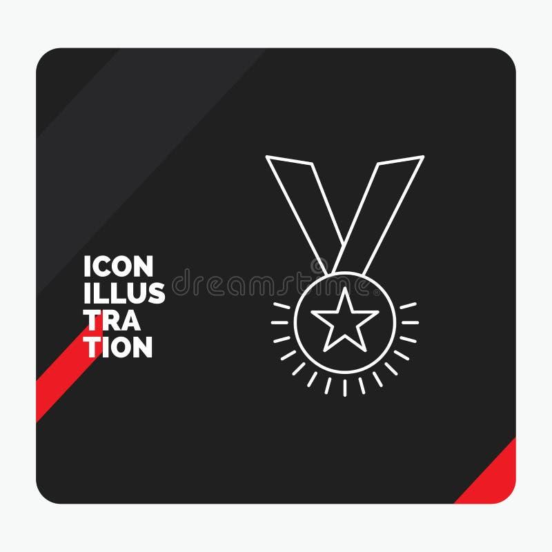 Rode en Zwarte Creatieve presentatieachtergrond voor Toekenning, eer, medaille, rang, reputatie, het Pictogram van de lintlijn stock illustratie