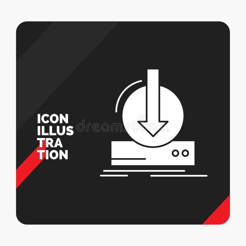 Rode en Zwarte Creatieve presentatieachtergrond voor Toevoeging, inhoud, dlc, download, het Pictogram van spelglyph royalty-vrije illustratie