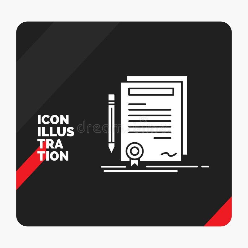 Rode en Zwarte Creatieve presentatieachtergrond voor Zaken, certificaat, contract, graad, het Pictogram van documentglyph vector illustratie