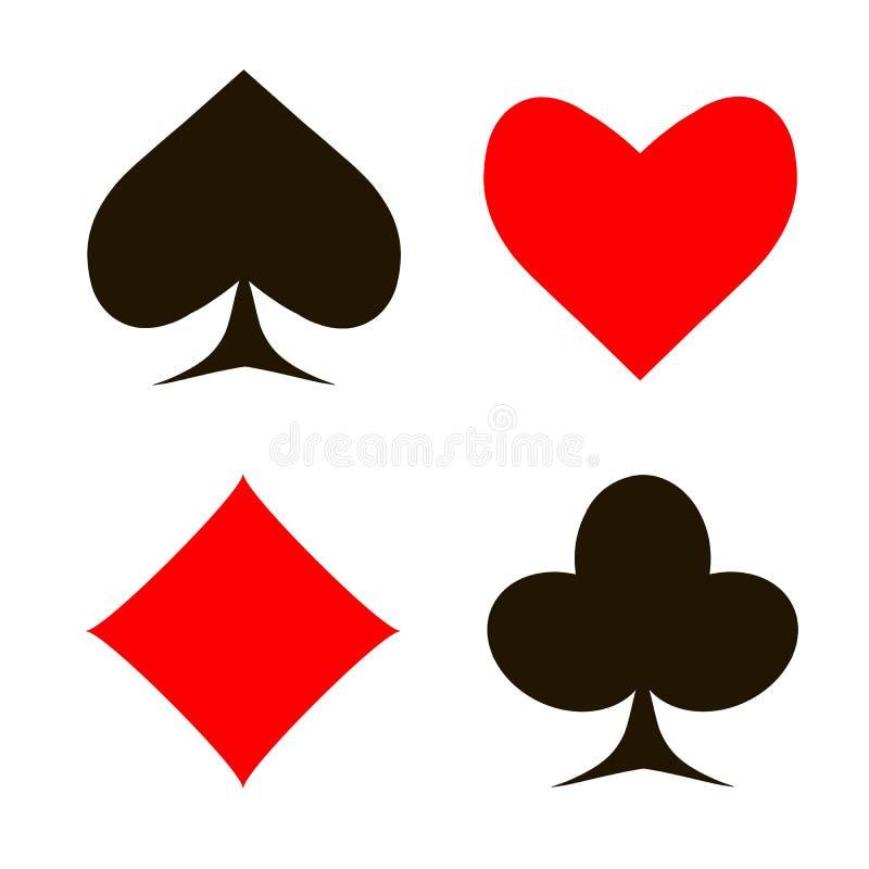 Rode en zwarte die spadesharten, diamanten, clubs, pook, kaartensymbolen op wit achtergrondontwerpelement worden geplaatst royalty-vrije illustratie