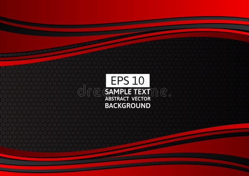 Rode en Zwarte geometrische golf, abstracte vectorachtergrond met exemplaarruimte voor zaken en technologie vector illustratie