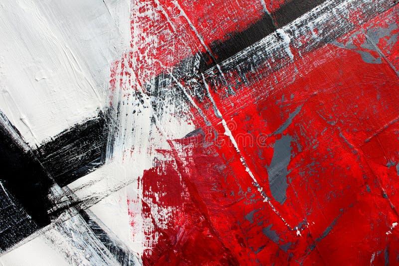 Rode en zwarte kleuren op canvas Landschap met rivier en bos Abstracte kunstachtergrond Olieverfschilderij op canvas Kleurentextu stock illustratie