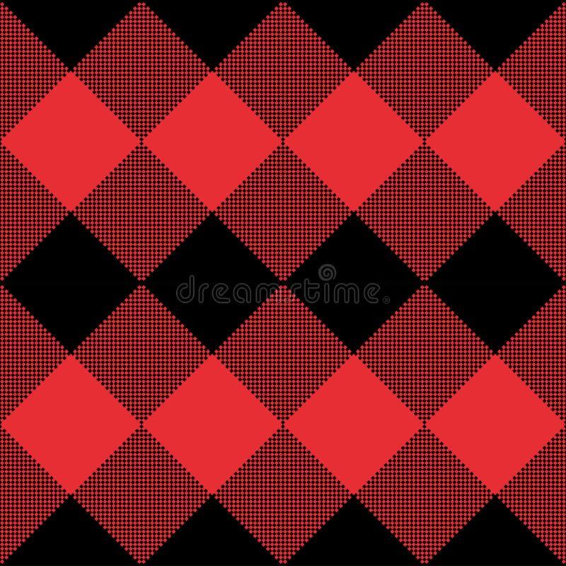 Rode en Zwarte naadloze abstracte geruite het patroonachtergrond van de Geruit Schots wollen stofplaid vector illustratie