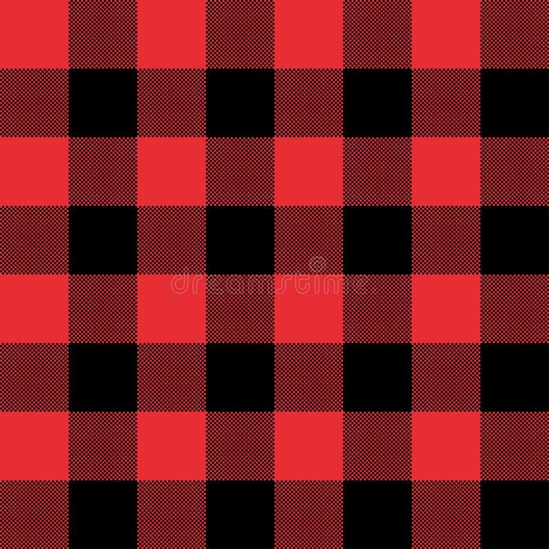 Rode en Zwarte naadloze abstracte geruite het patroonachtergrond van de Geruit Schots wollen stofplaid stock illustratie
