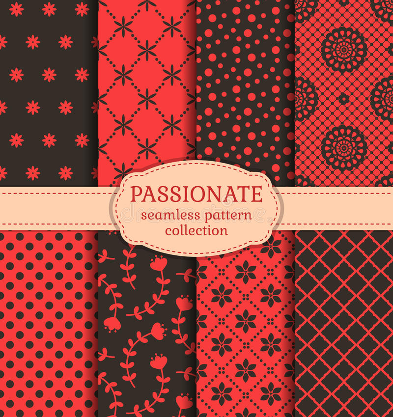 Rode en zwarte naadloze patronen Beeldverhaal polair met harten royalty-vrije illustratie