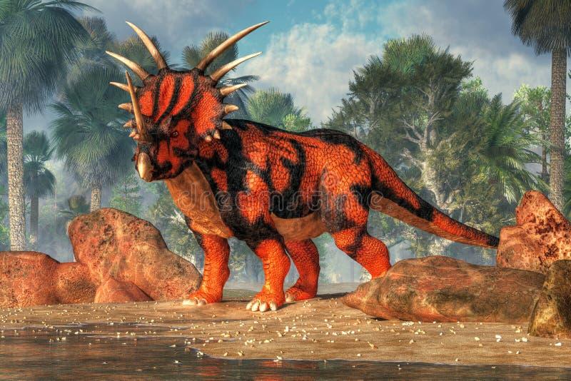 Rode en Zwarte Sytracosaurus royalty-vrije illustratie