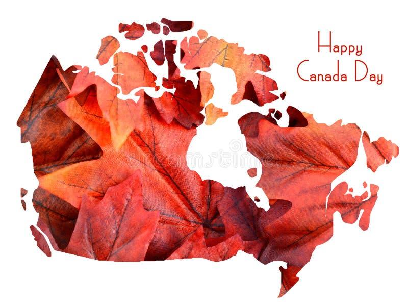 Rode Esdoornbladeren in vorm van de kaart van Canada vector illustratie