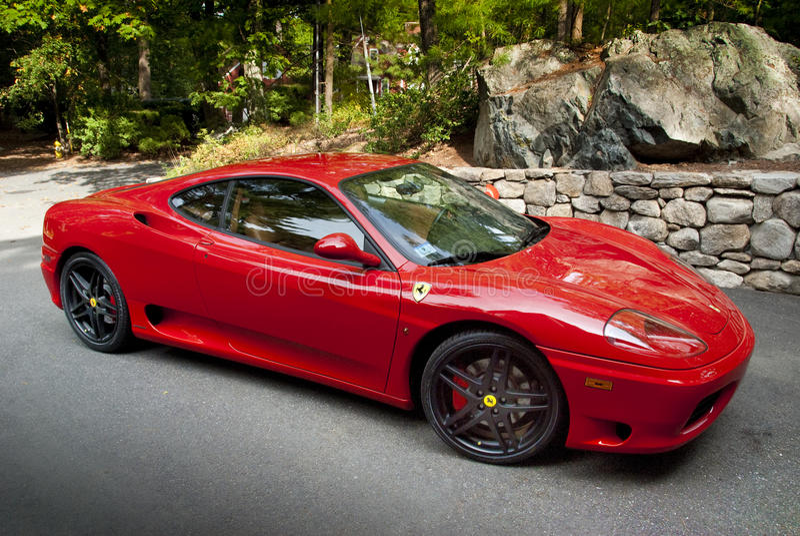 Rode ferrari 360 Modena royalty-vrije stock afbeelding