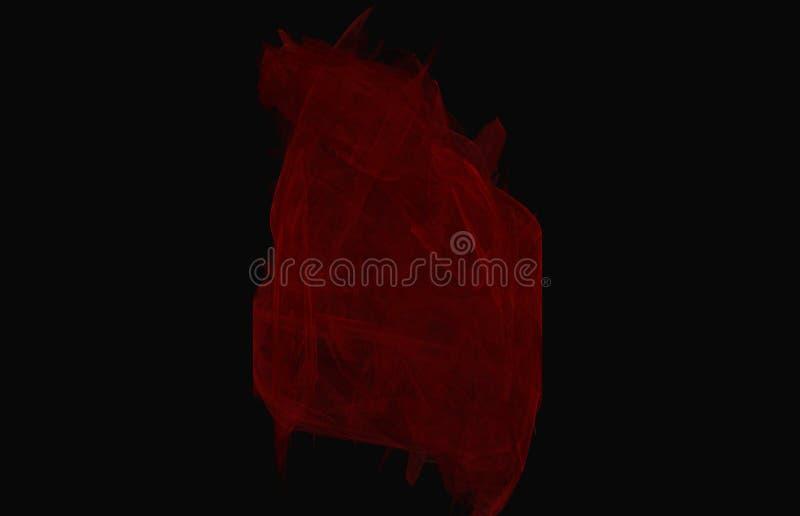 Rode fractal textuur op zwarte achtergrond Fantasiefractal textuur Digitaal art het 3d teruggeven Computer geproduceerd beeld vector illustratie
