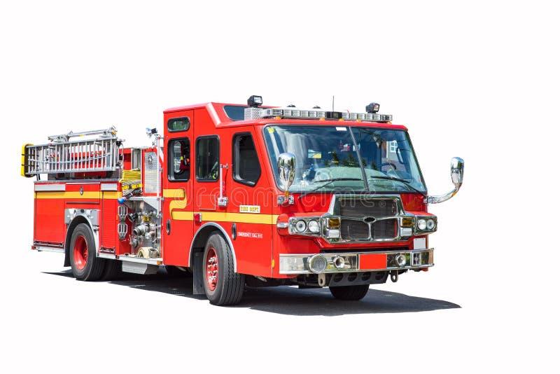 Rode geïsoleerde brandvrachtwagen stock afbeeldingen
