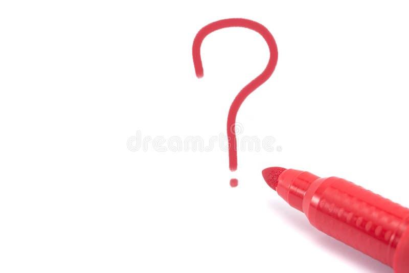 Rode geïsoleerde teller en vraagteken stock afbeelding