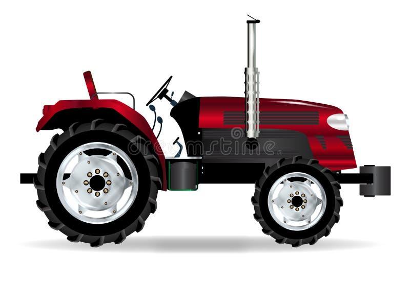 Rode Geïsoleerde Tractor stock illustratie