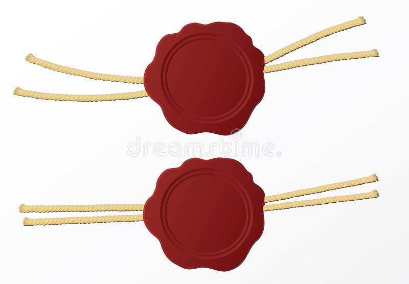 Rode geïsoleerde wasverbinding of zegel vector illustratie