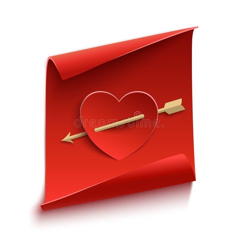 Rode, gebogen, document banner met hart en pijl vector illustratie