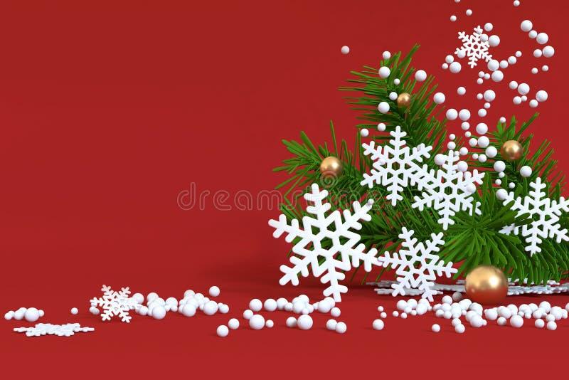 Rode geeft de het boom-blad Kerstmis van achtergrondsneeuw drijvende Kerstmis gouden bal, 3d concept van de het jaarwinter van va royalty-vrije stock fotografie