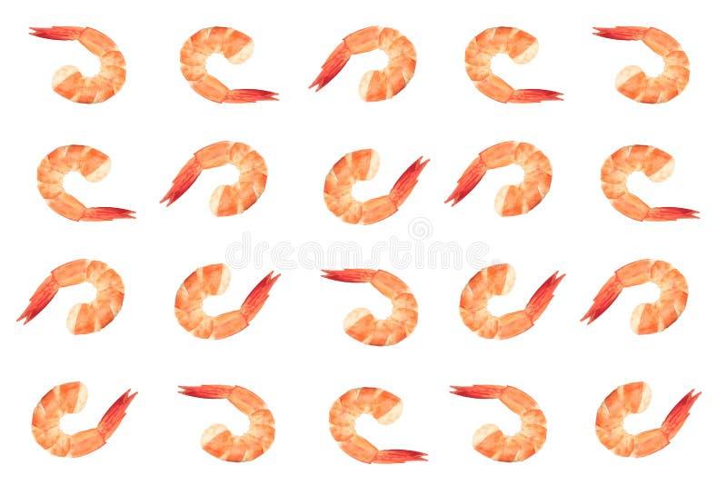 Rode gekookte die garnaal of tijgergarnalen op witte achtergrond worden geïsoleerd stock foto's