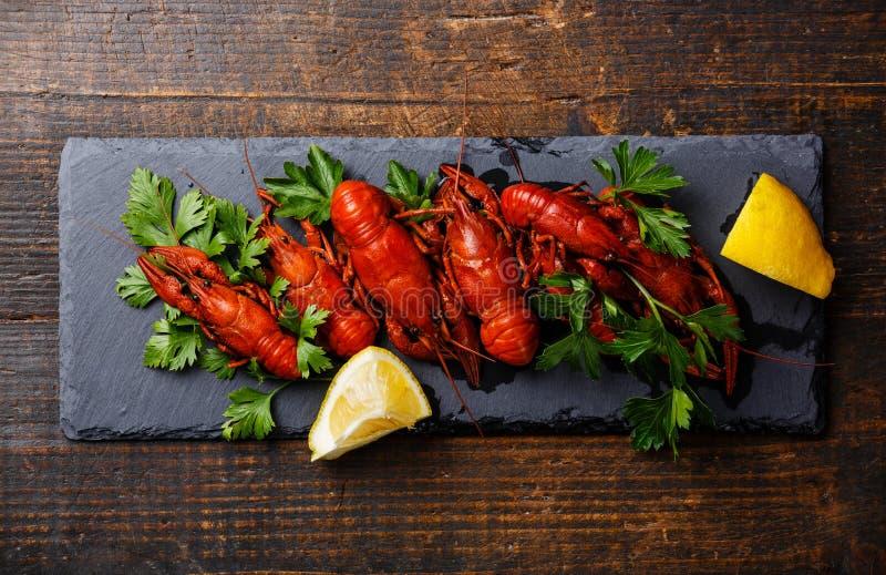 Rode gekookte rivierkreeften met citroen stock afbeelding
